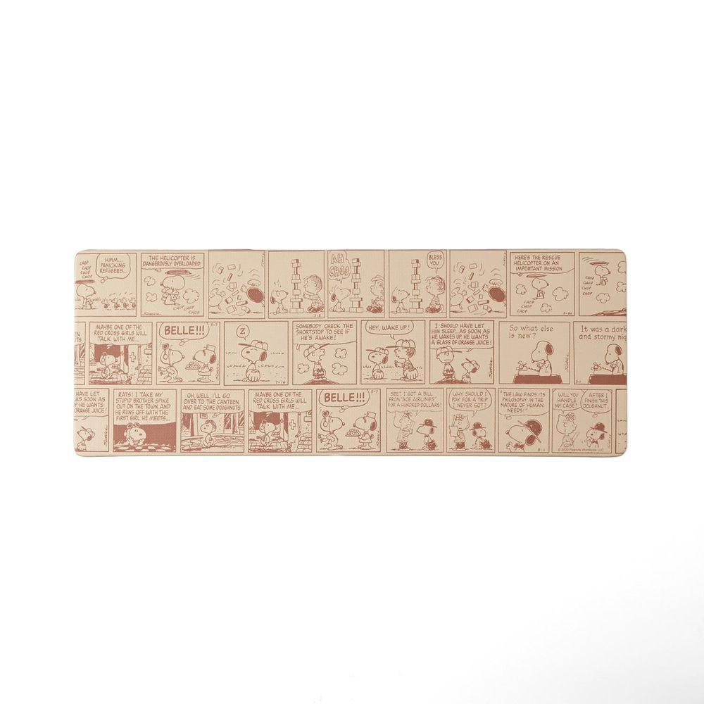 日本千趣會 - 史努比 易清潔 長條型腳踏墊(廚房/臥室)-復古漫畫-杏色系
