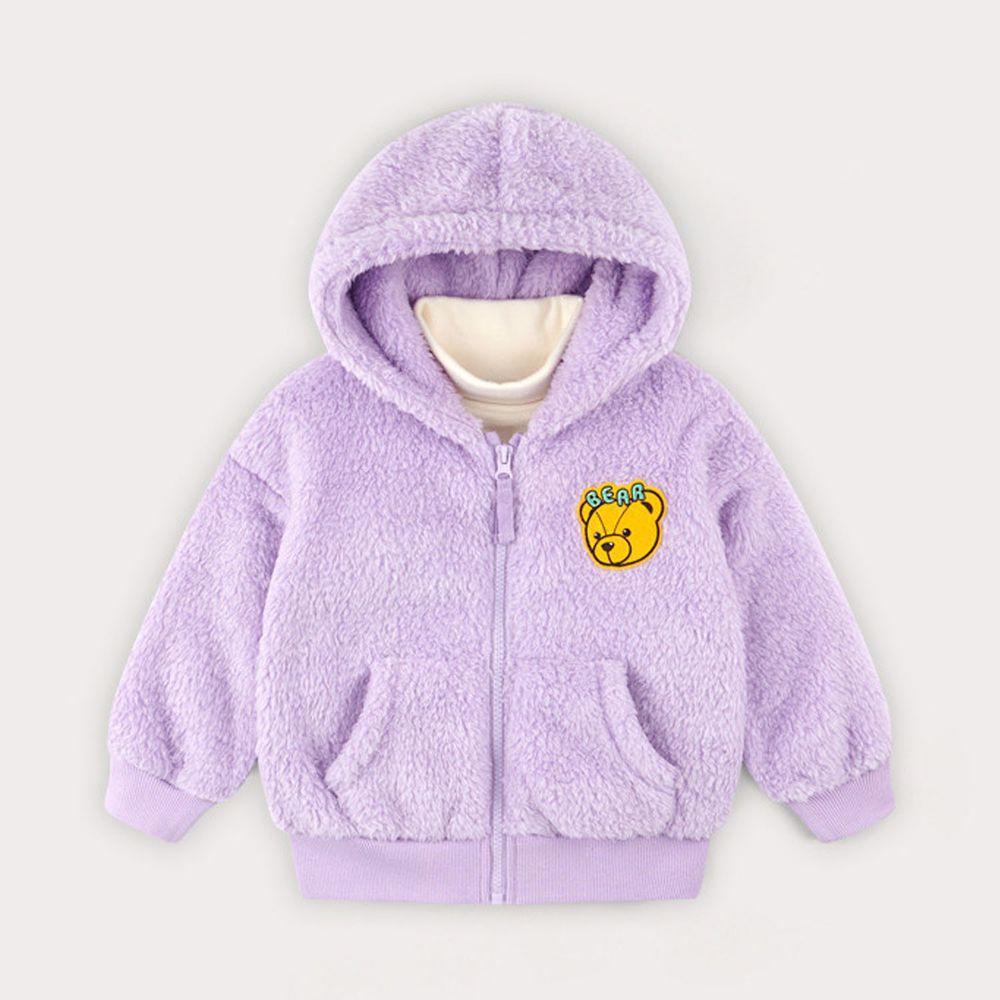 韓國 HEJMINI - 熊熊絨毛連帽夾克-紫