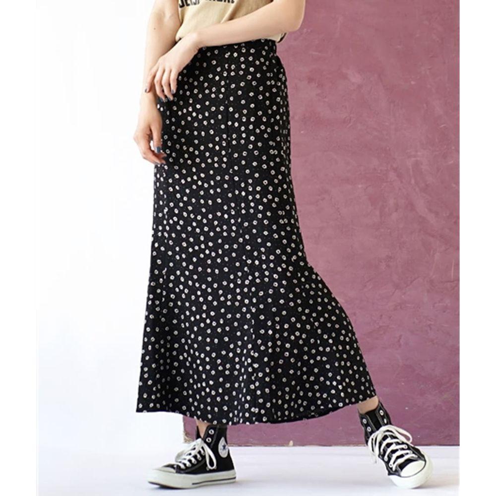 日本 zootie - 簡約滿版小花長裙-黑底