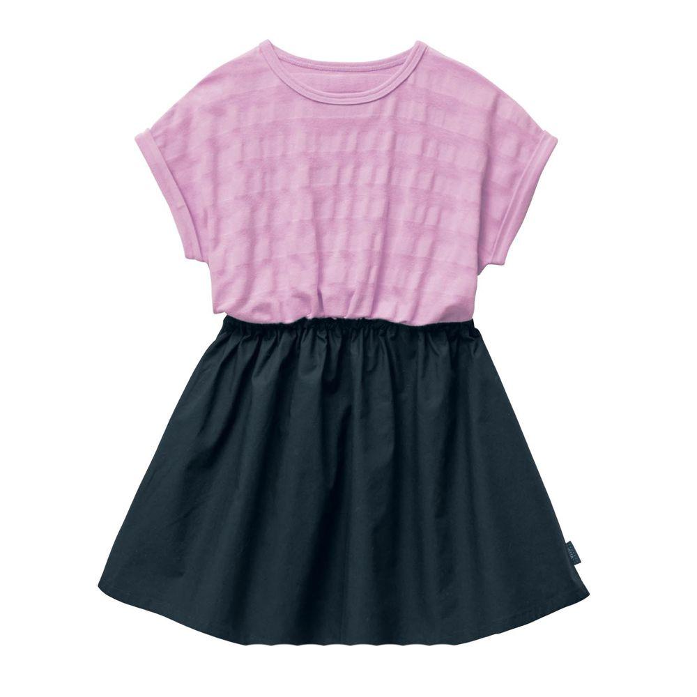 日本千趣會 - (剩140)GITA 假兩件短袖洋裝-粉紫上衣X黑裙
