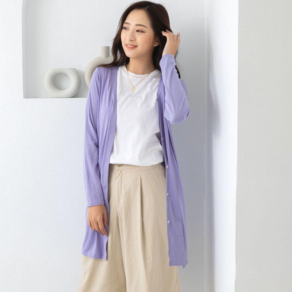 貝柔 Peilou - (新上市)日本水潤白抗UV保濕防曬長版罩衫-V領長版-丁香紫
