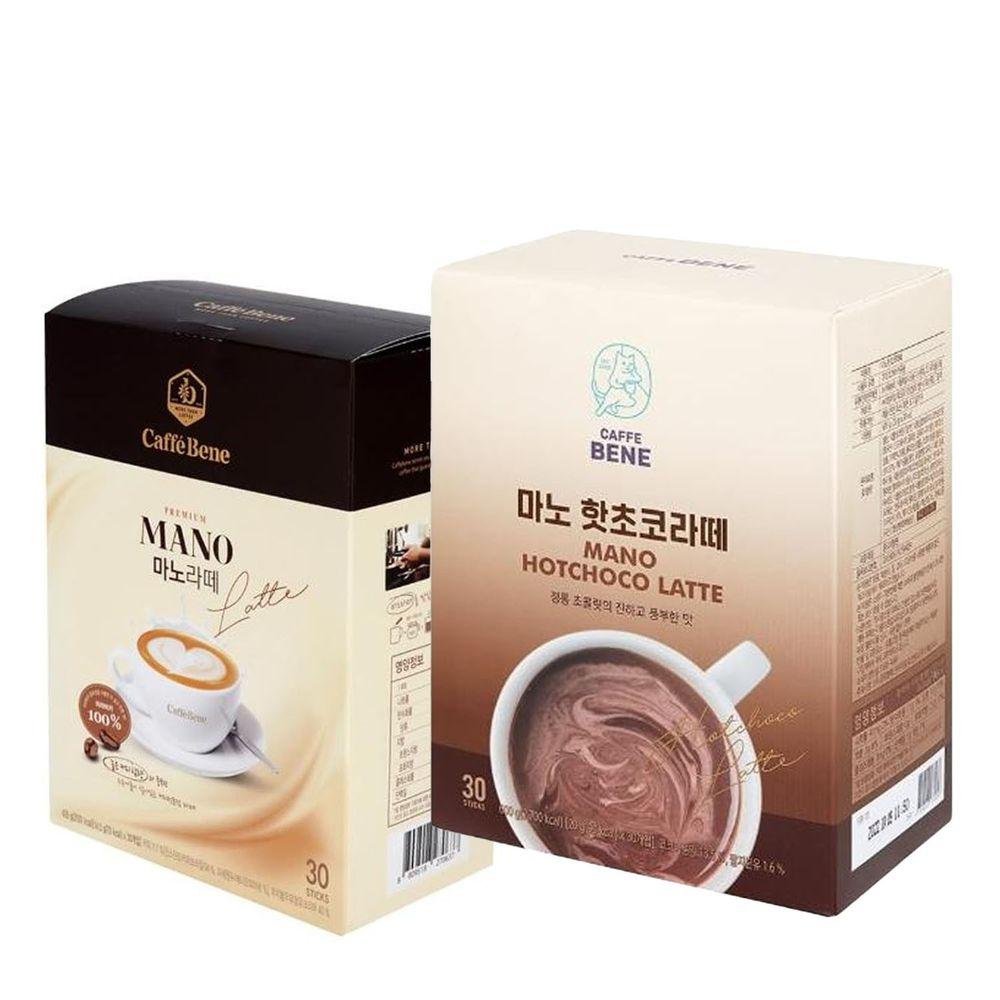韓國Caffebene咖啡伴 - 【微甜組】熱巧克力拿鐵(30入/盒)+三合一微糖拿鐵(30入-效期2022.07.23)