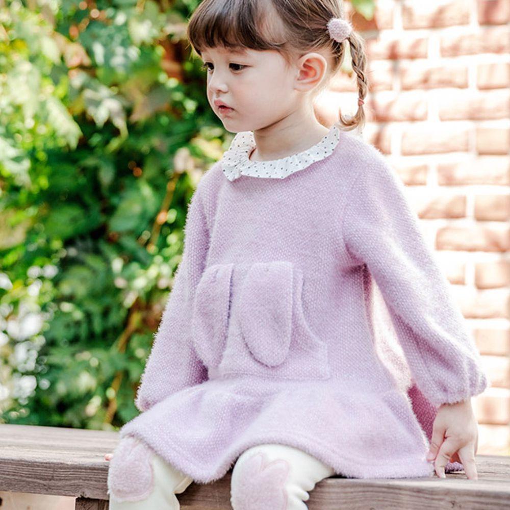 韓國 Bebezoo - 兔耳朵口袋針織洋裝-淺紫