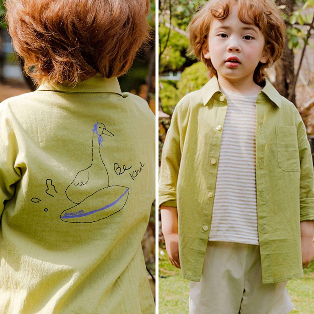 韓國 Bebezoo - 衝浪鴨鴨襯衫-橄欖綠