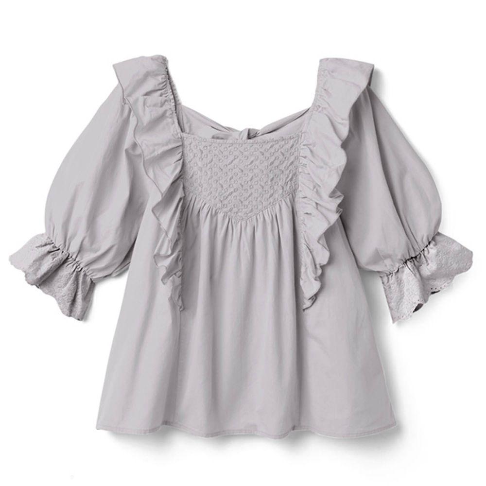 日本 GRL - 荷葉層次方領後蝴蝶結綁帶五分袖上衣-薰衣草