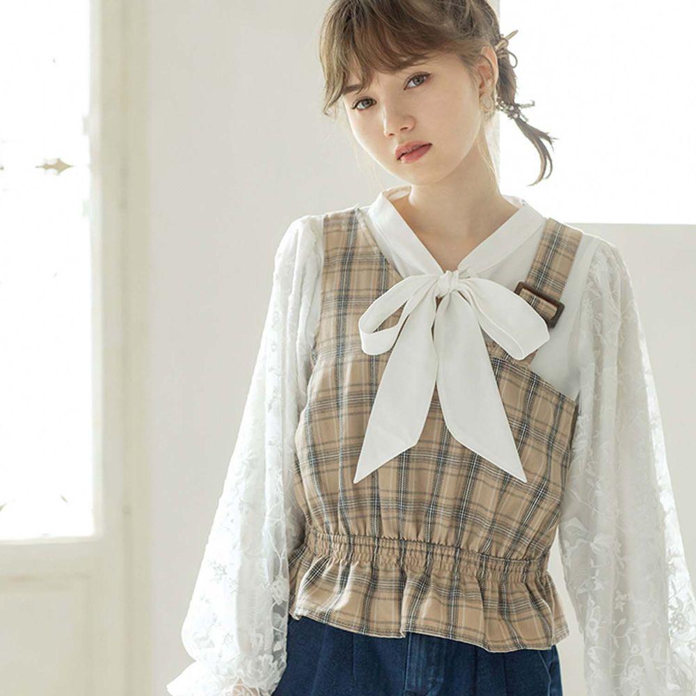 日本 GRL - 刺繡薄紗袖上衣X不規則格紋背心兩件組 (M)
