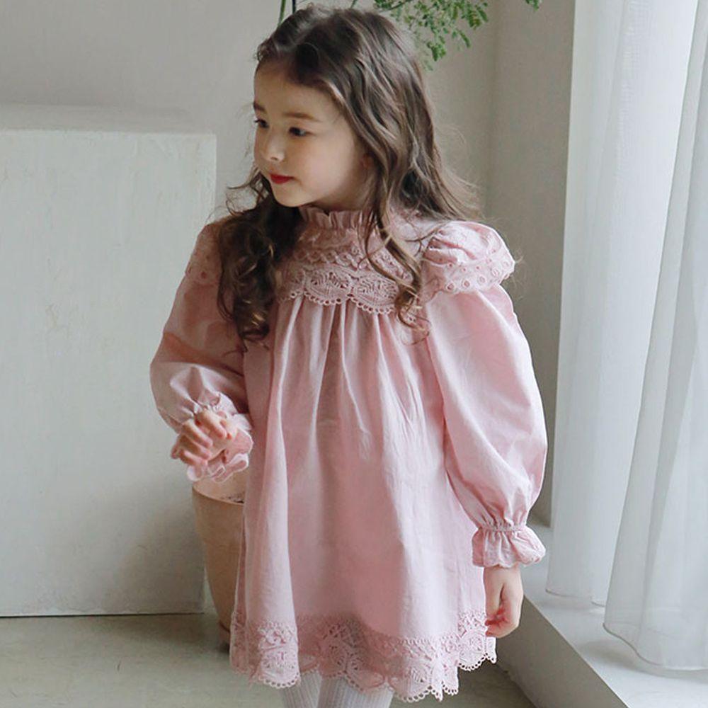 韓國 PuellaFLO - 圈圈鏤空立體領洋裝-粉紅