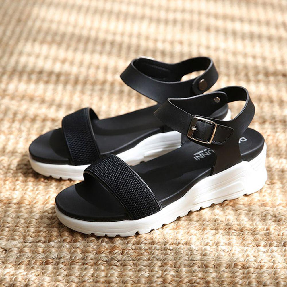 韓國 Dangolunni - 一字寬面軟後底涼鞋(4.5cm高)-黑