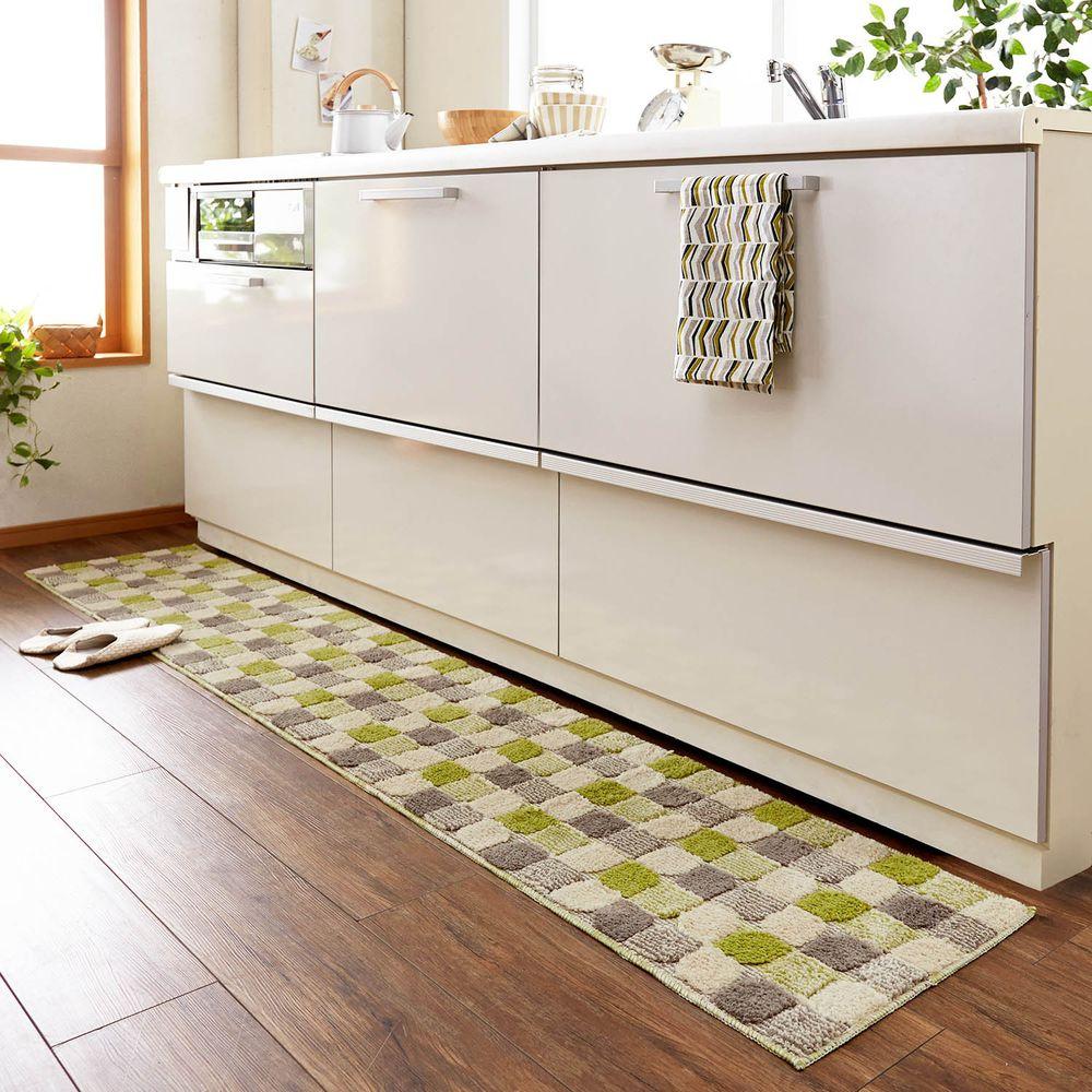 日本千趣會 - 長毛舒適腳踏墊(廚房/臥室)-漸層方格-綠色系