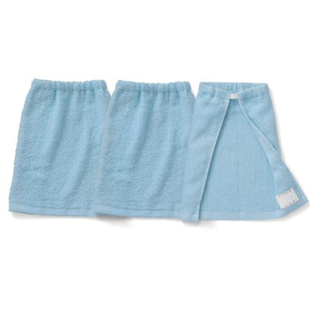 日本千趣會 - 毛巾圍兜3件組-藍 (短(30x34cm))