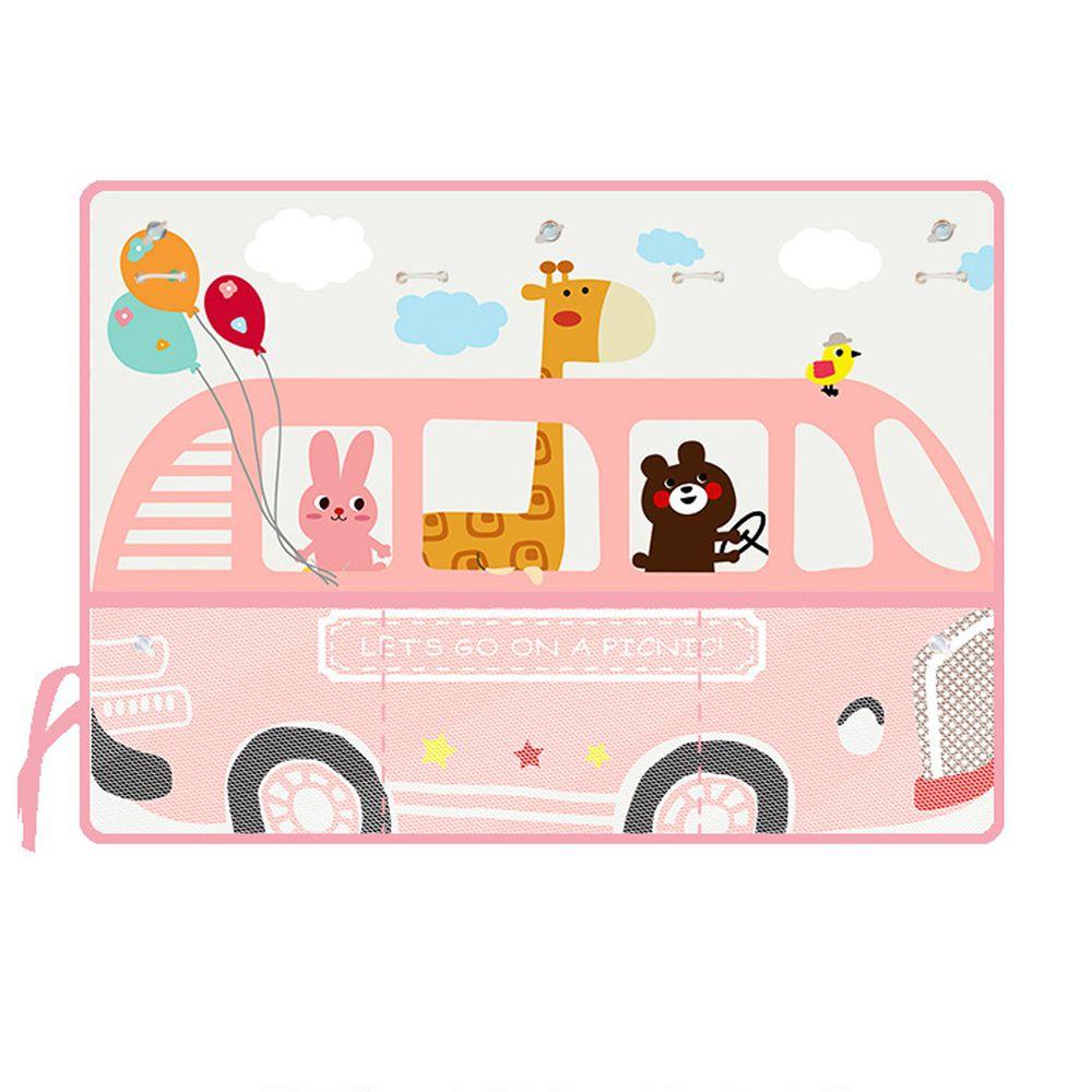 收納袋汽車遮陽窗簾-粉紅巴士