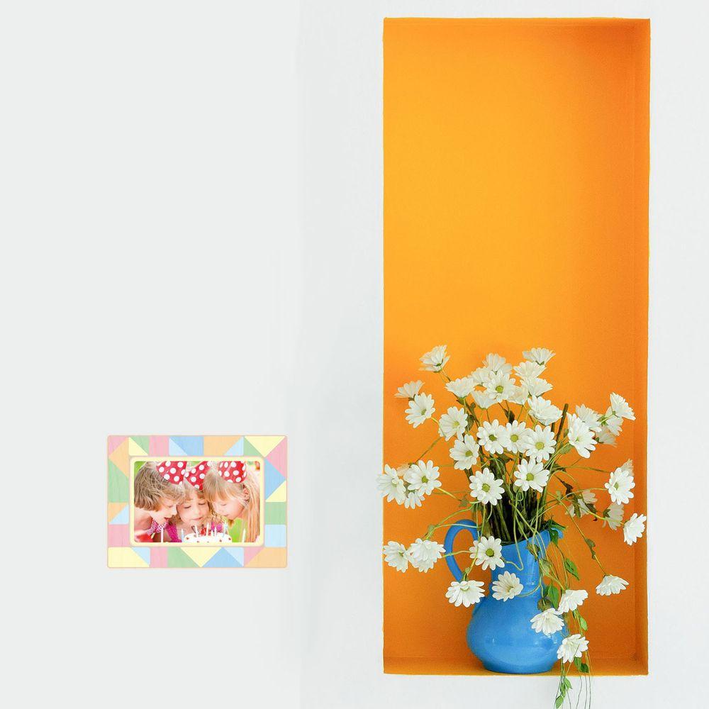 日本 TOKYO STICKER - 日本製 質感相框壁貼-繽紛三角 (3.5x5吋相片適用)