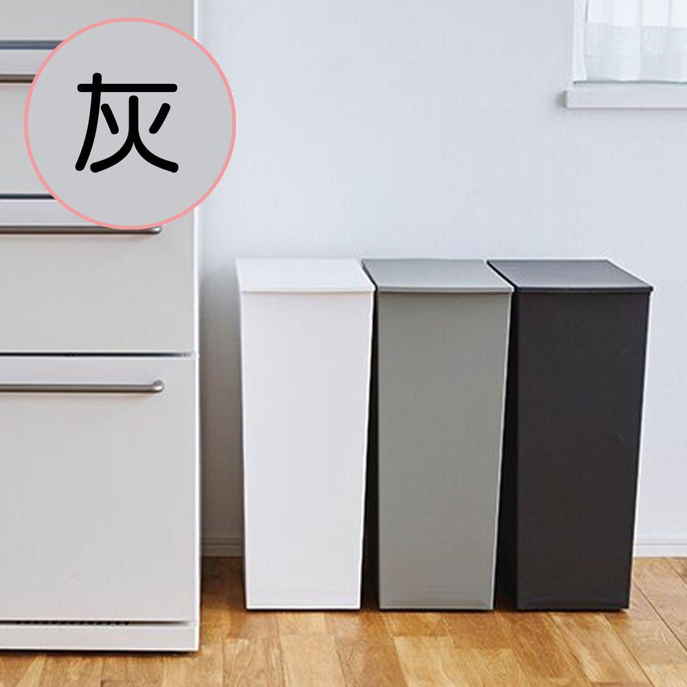 日本岩谷Iwatani - 日本製長型可分類掀蓋式垃圾桶(附輪)-36L-灰