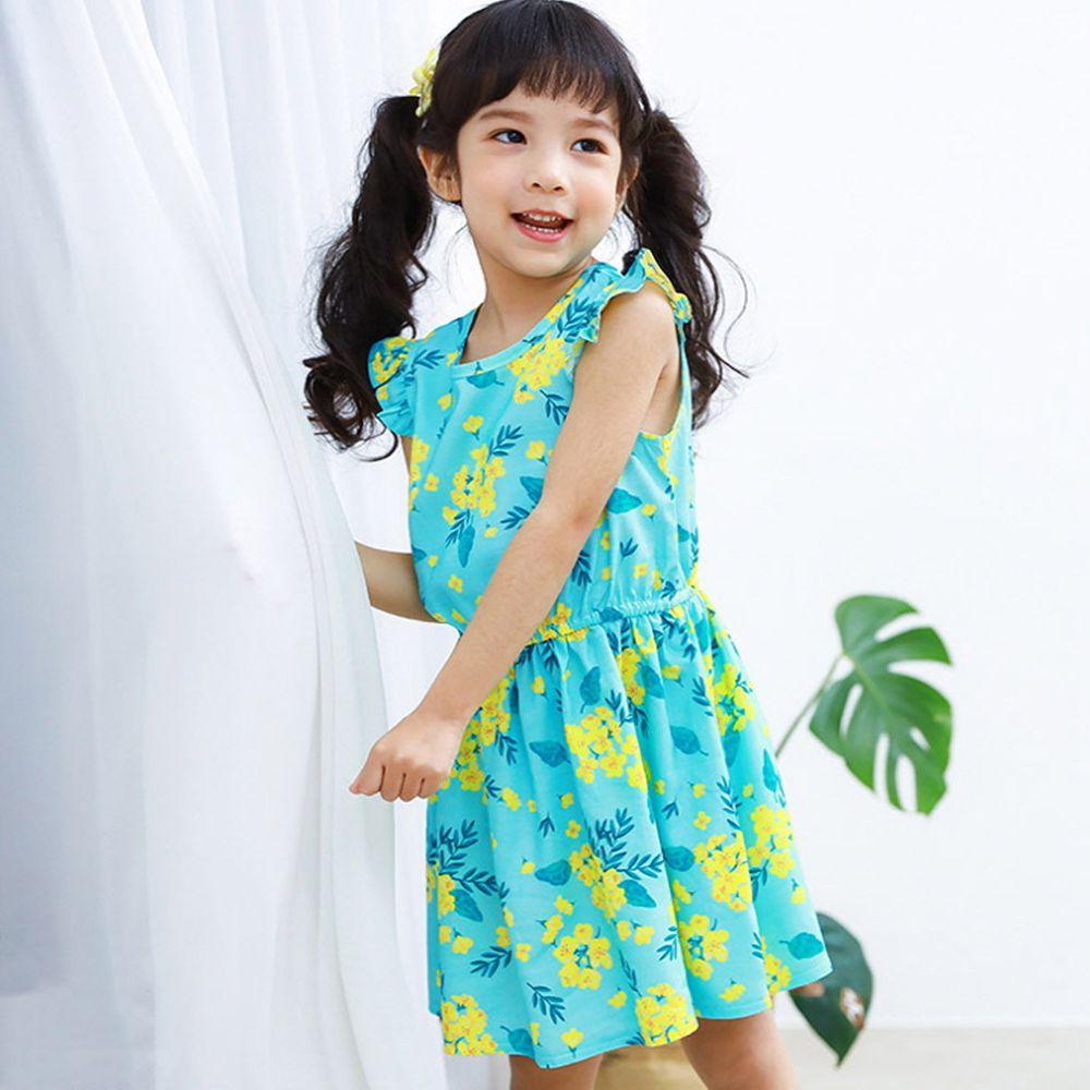 韓國 Ppippilong - 天然纖維涼感洋裝-薄荷花朵