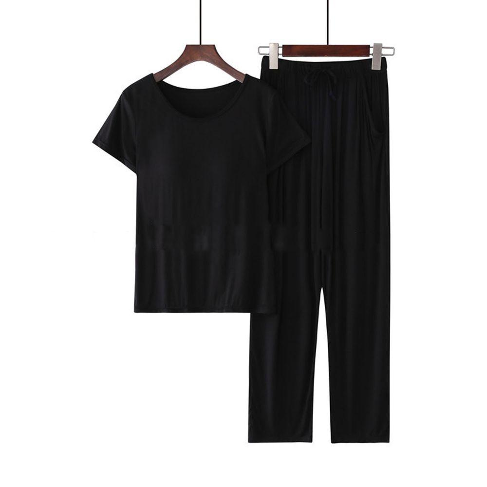 莫代爾柔軟涼感Bra T家居服-長褲套裝-黑色