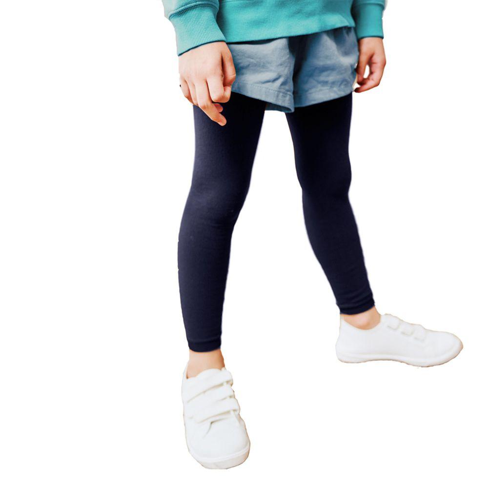 GIAT - 兒童溫暖力厚磅內刷毛褲襪(九分款)-藍色炫渦