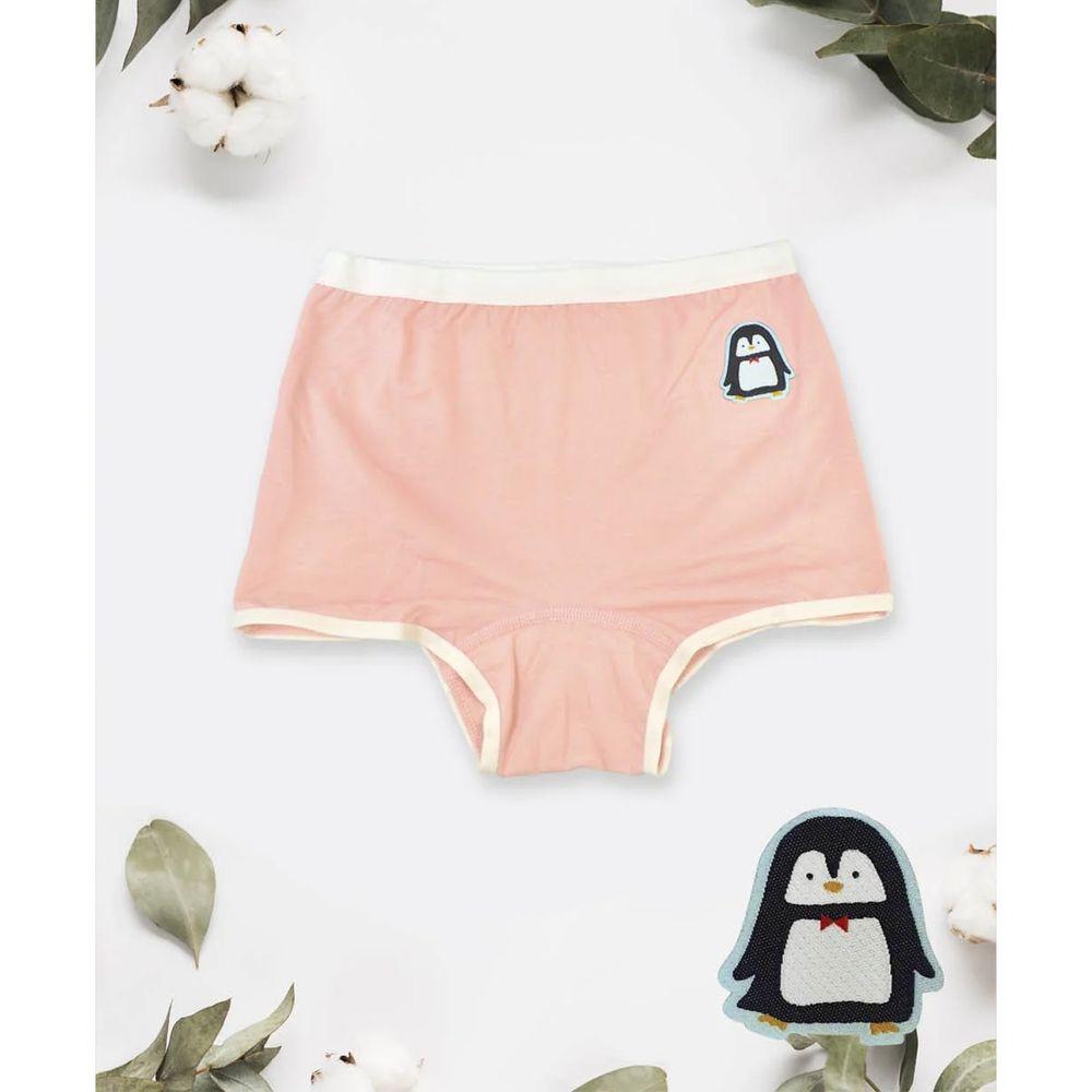 貝柔 Peilou - 天絲棉舒膚平衡童女平口褲-貼布繡-企鵝-橘