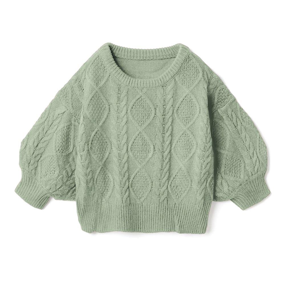 日本 GRL - 編織紋美腰綁帶寬版七分袖針織上衣-薄荷