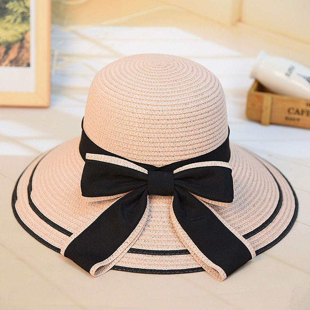 成人大帽沿撞色遮陽草帽-粉色 (55-58cm)