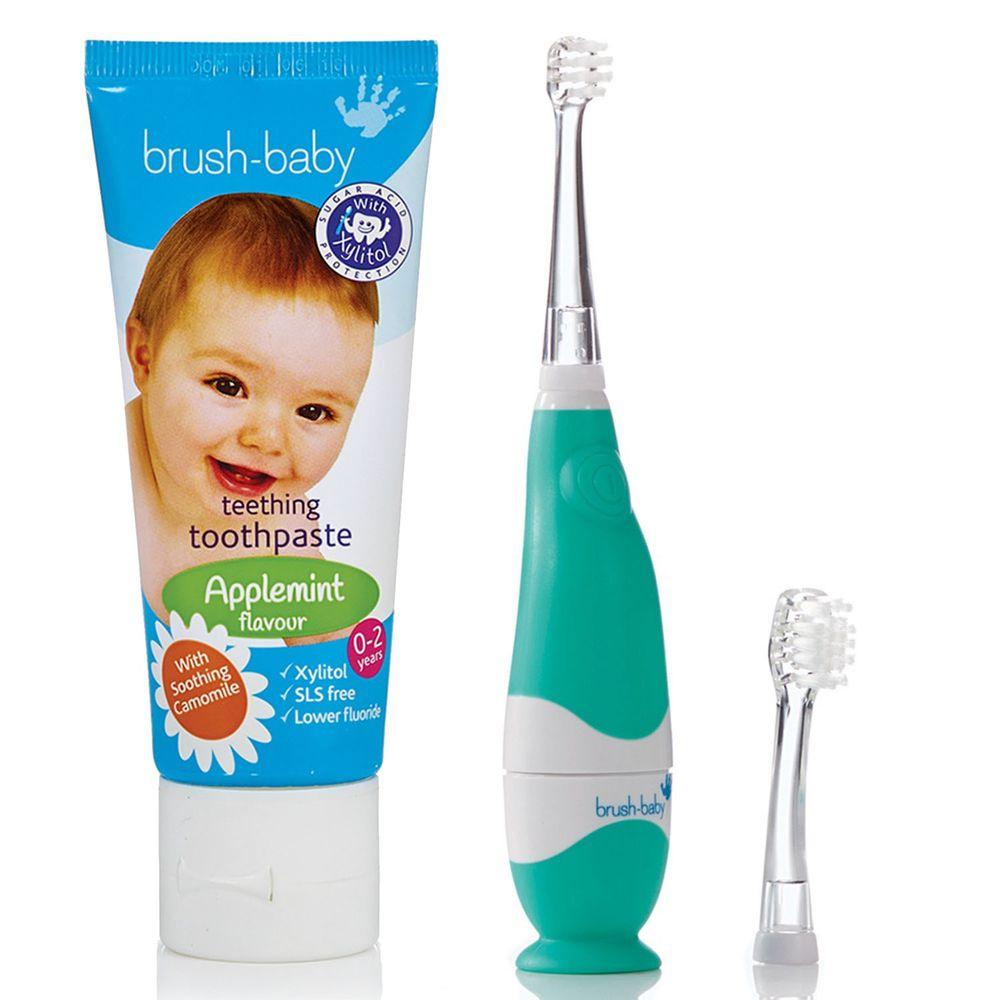 英國 brush-baby - 嬰幼兒聲波電動牙刷(0-3歲用)+寶寶木糖醇牙膏(天然洋甘菊/50ml)-0-2歲用-含氟量 1000ppm