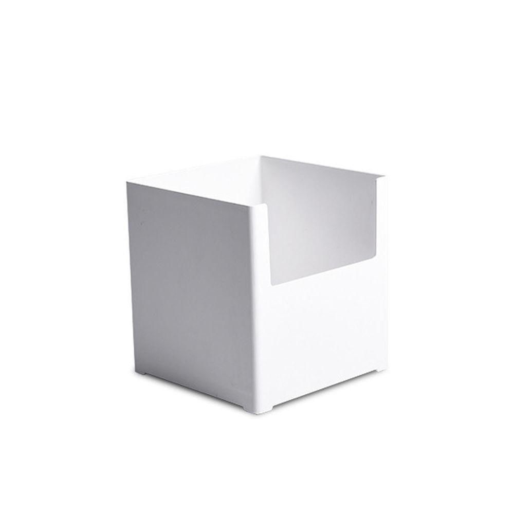 凹型多功能可堆疊收納盒-寬版小號 (14x14x15cm)-附卡扣便籤