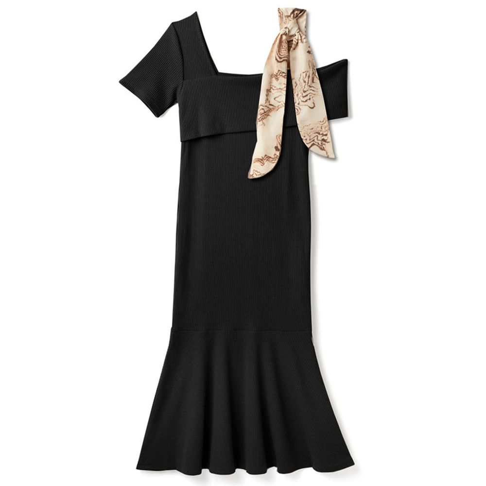 日本 GRL - 單邊絲巾肩帶設計短袖貼身洋裝-黑