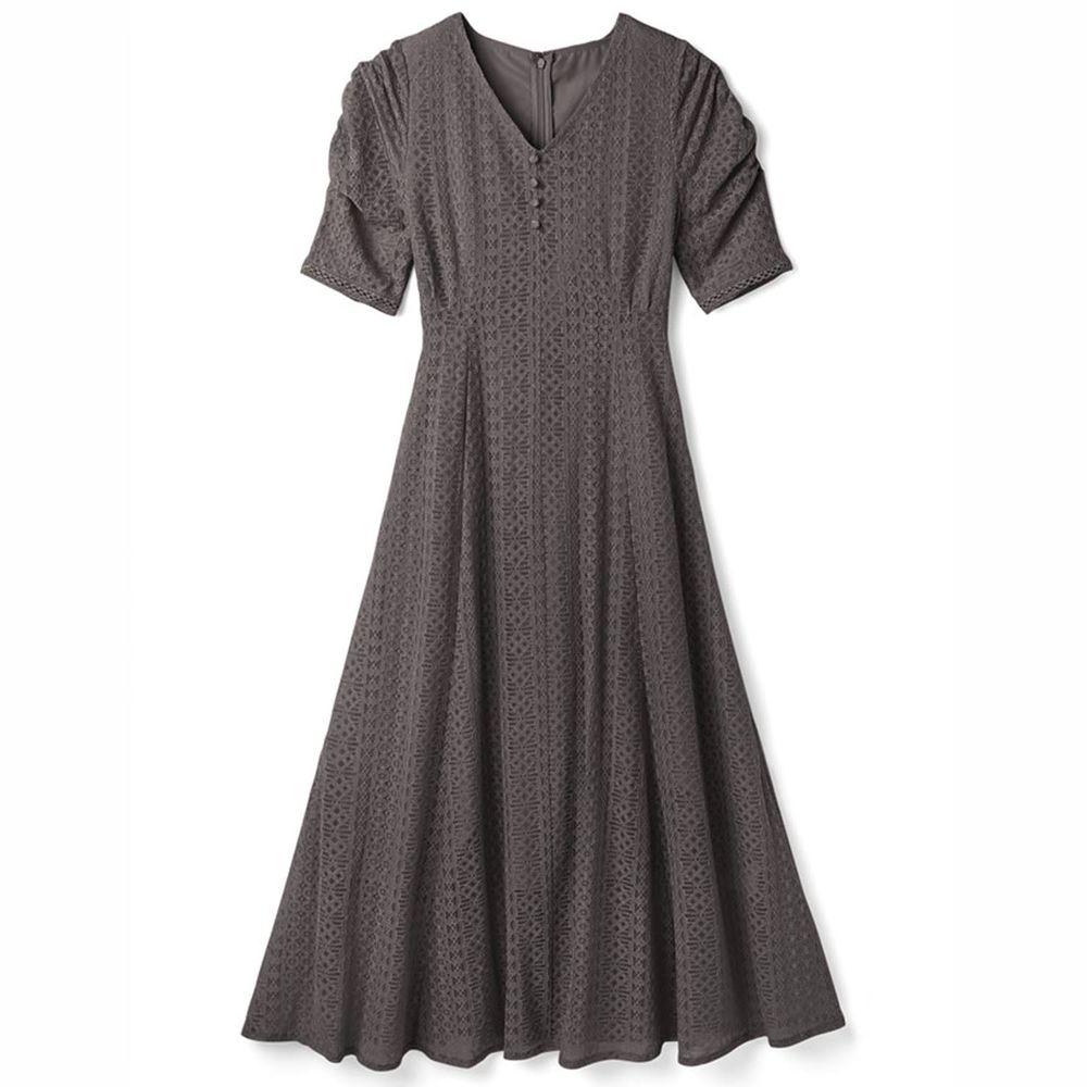 日本 GRL - 明星聯名款 復古蕾絲雕花短袖洋裝-石墨灰