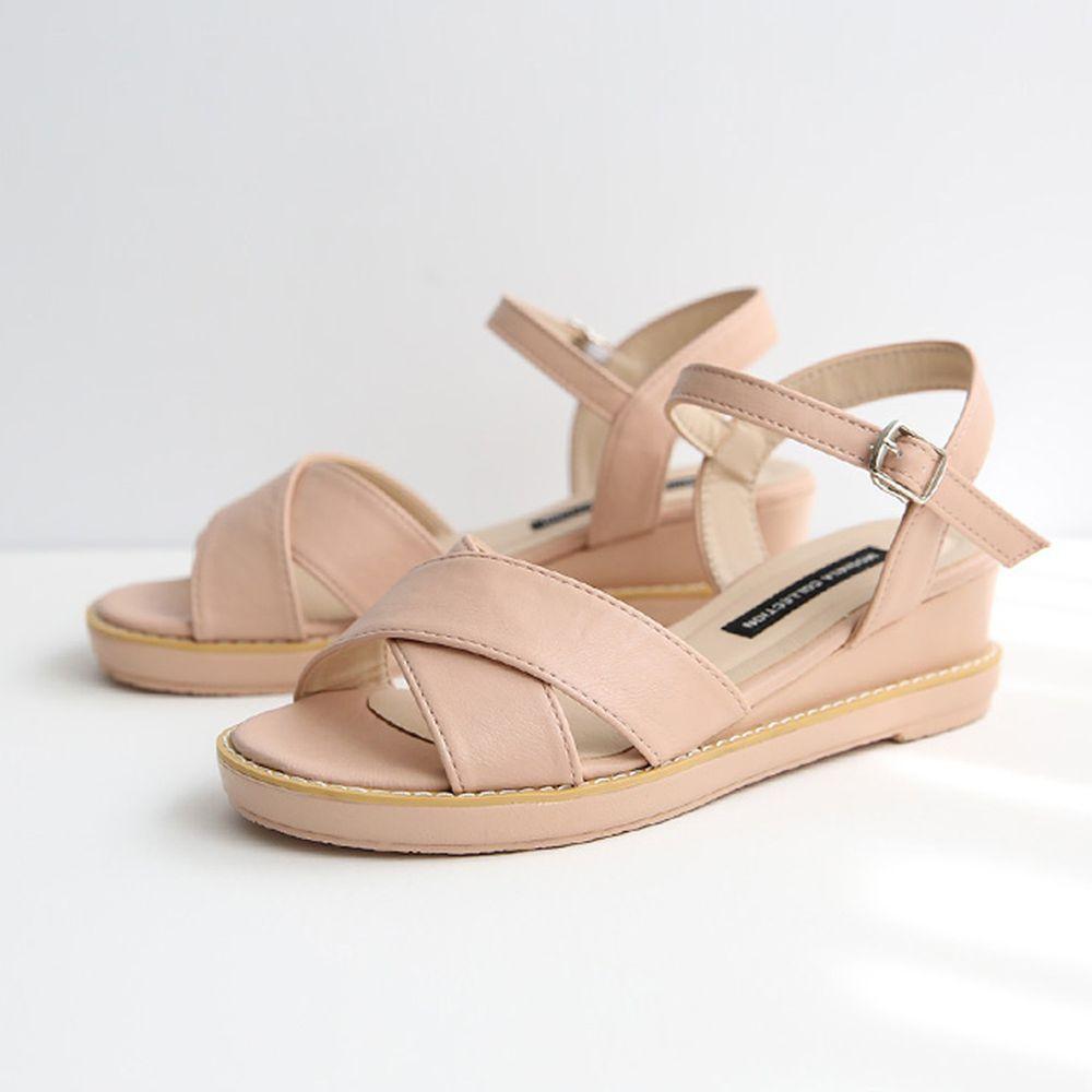 韓國 Dangolunni - 簡約交叉後增高涼鞋(5cm高)-粉紅
