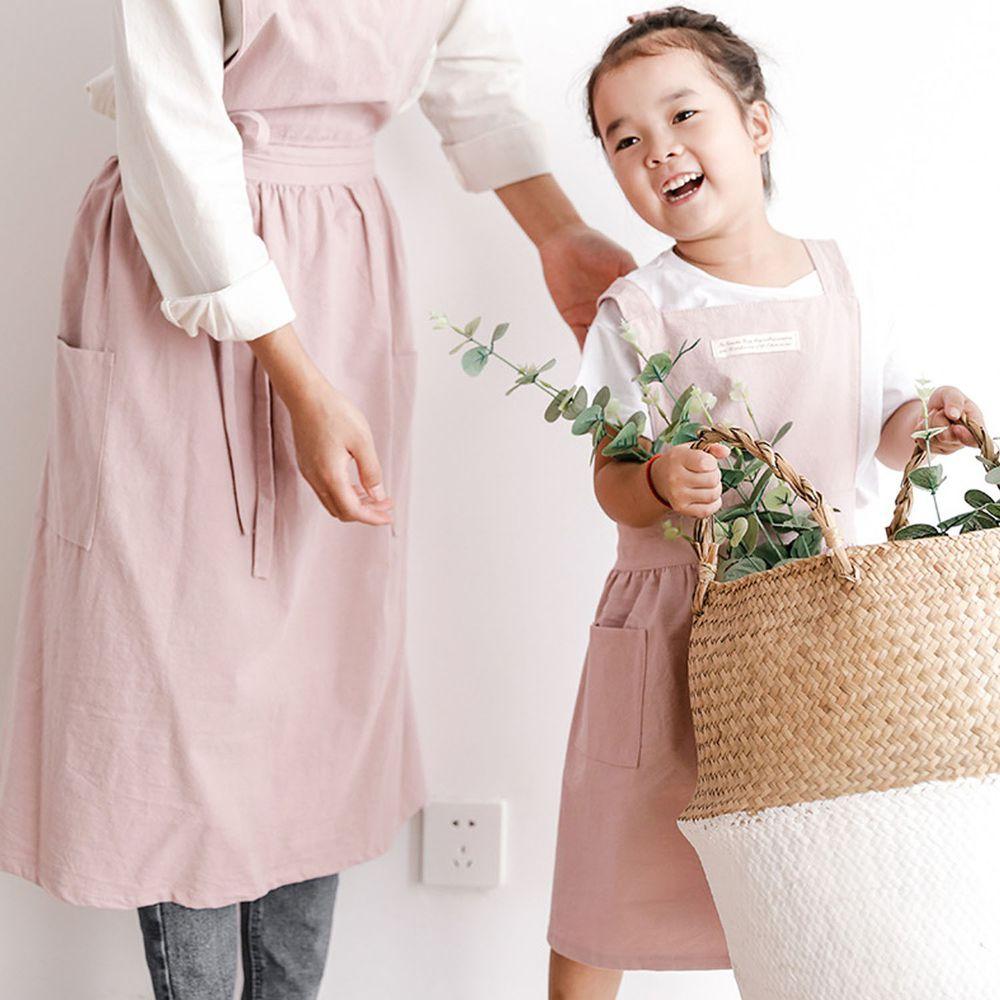 北歐文藝棉麻百褶圍裙-兒童款-粉色