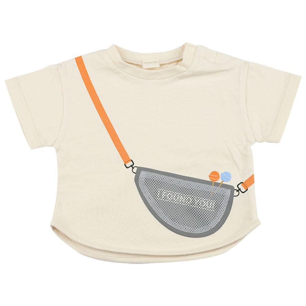 akachan honpo - 短袖趣味T恤-動物刺繡(有肩釦)-象牙白色