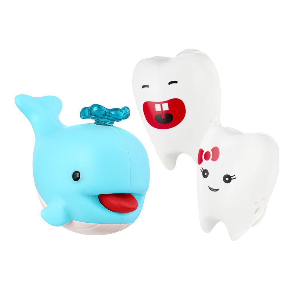 Flipper - 專利免觸碰開關牙刷架+小鯨魚擠牙膏器-牙刷+擠牙膏器-牙仙/藍色小鯨魚