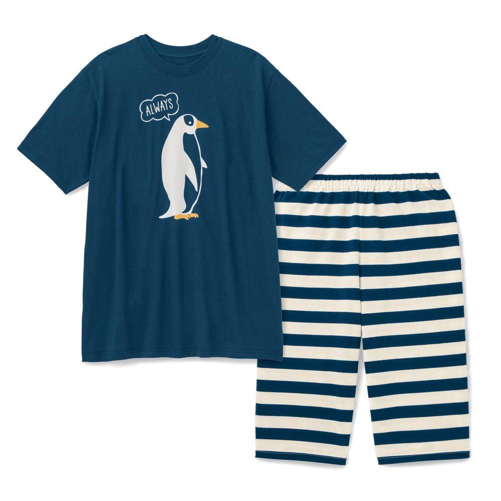 日本千趣會 - 純棉涼爽舒適短袖家居服(爸爸)-企鵝-深藍