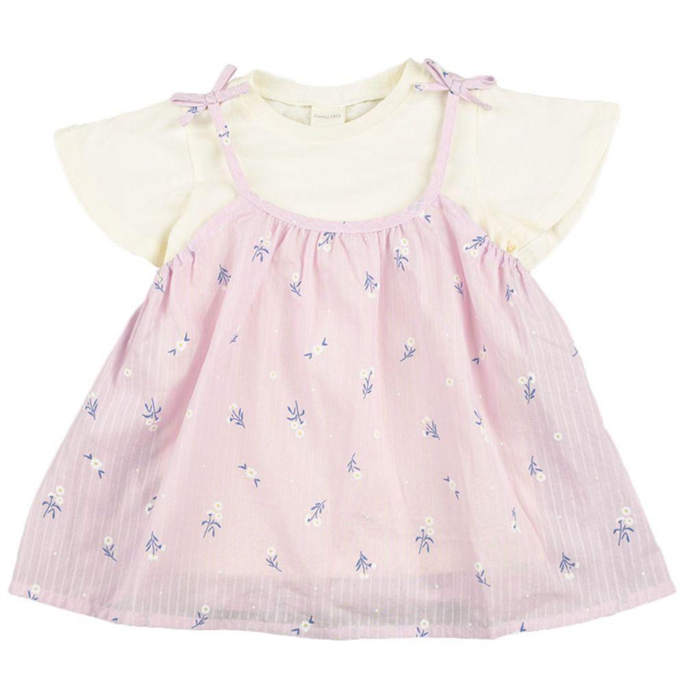 akachan honpo - 短袖兩件式T恤-小花-粉紅色