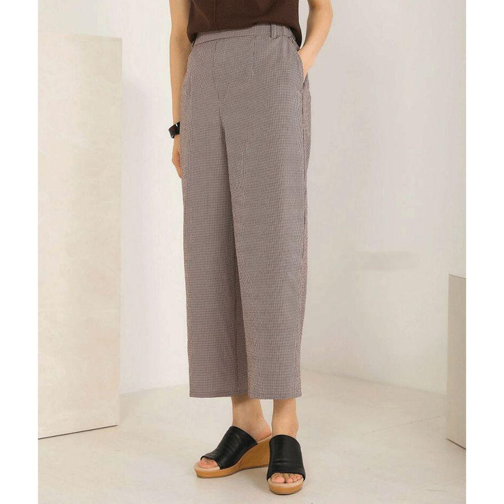 日本 Bou Jeloud - 細格紋美腿修身九分寬褲-咖啡