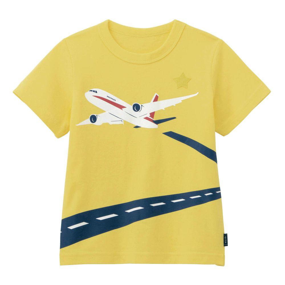 日本千趣會 - GITA 天竺棉印花短T-飛機起飛-黃