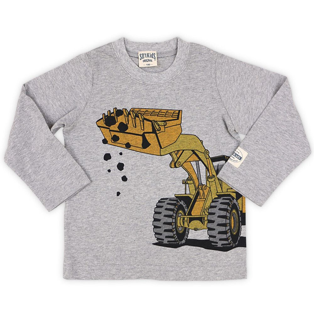 日本服飾代購 - 純棉印花長袖上衣-挖土機-雜灰