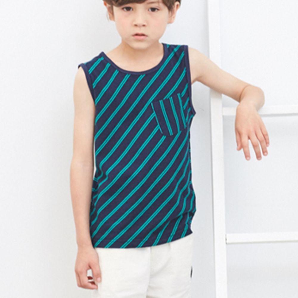 麗嬰房 Little moni - 簡約條紋背心-深藍