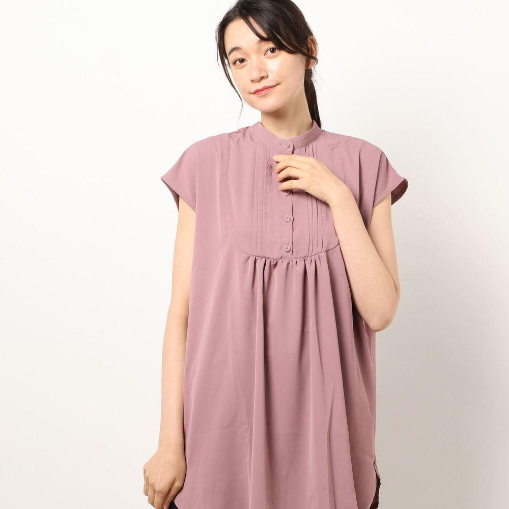日本 Riche Glamour - 胸口小百褶抓皺設計無袖上衣-紫