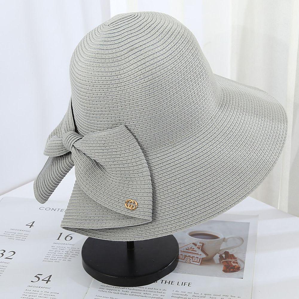 成人時尚大帽沿防曬草帽-蝴蝶結-淺灰色 (56-58cm)