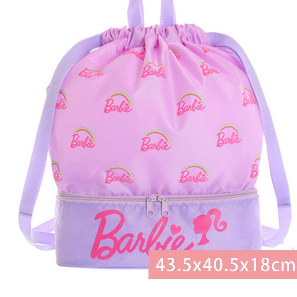 日本代購 - 上下分層束口後背包(下層小透氣網)-Barbie芭比-粉 (43.5x40.5x18cm)