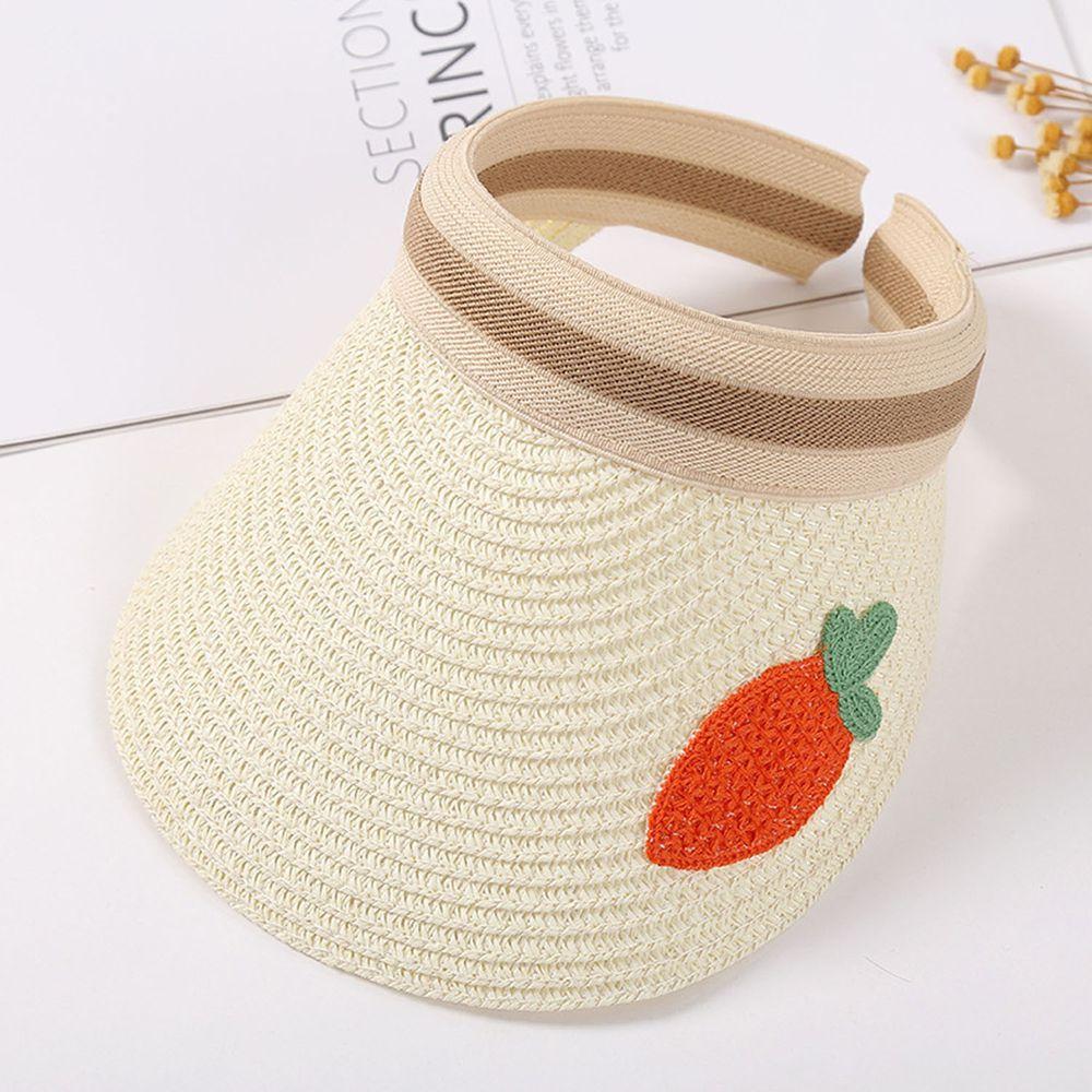 兒童刺繡空頂遮陽草帽-奶白