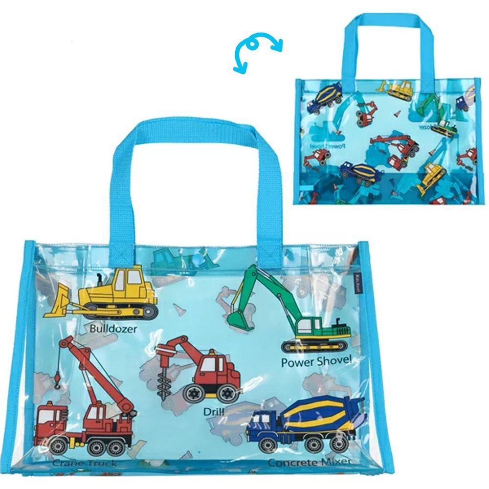 日本服飾代購 - 防水PVC游泳包(雙面圖案設計)-工具機大集合-水藍 (25x36x13cm)