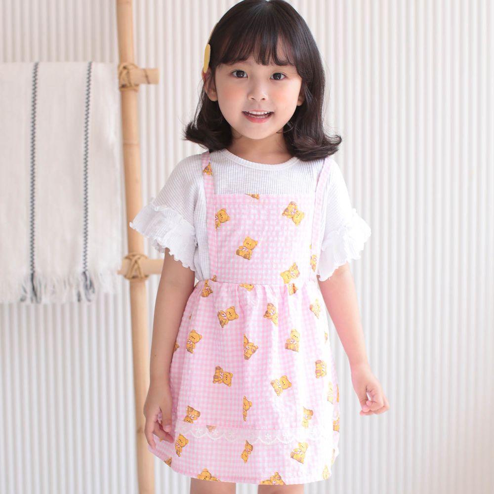 韓國 Dalla - 可愛吊帶裙-粉紅熊