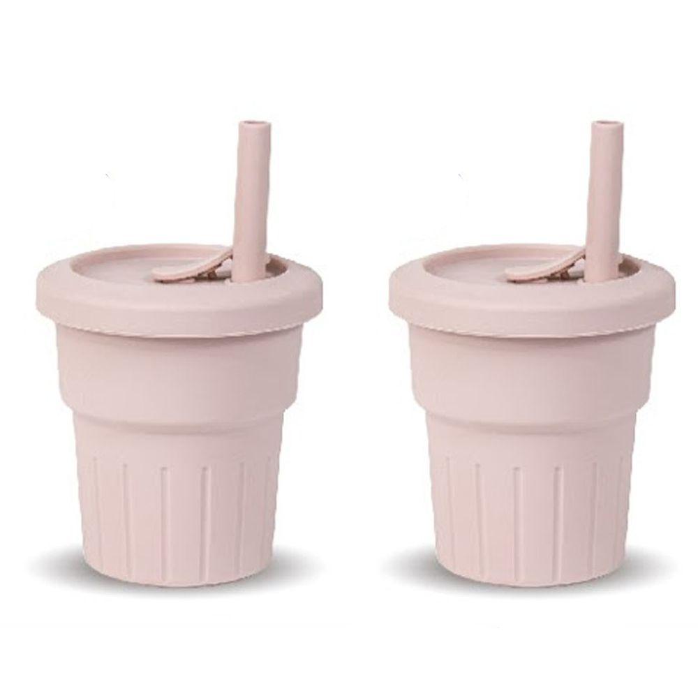 KOM - 台灣製矽膠環保隨行小巧杯兩入組-櫻花粉 (330ml)