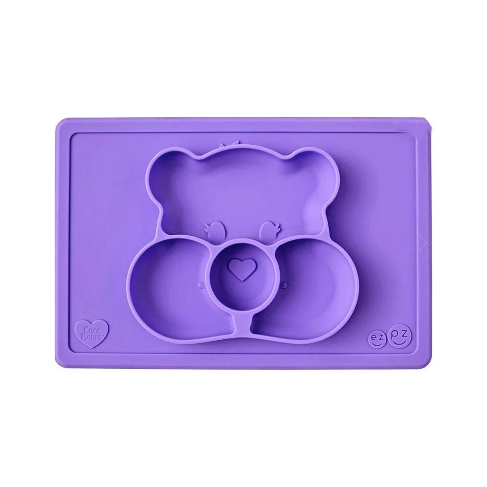 美國 ezpz - Care Bears聯名餐盤-分享熊-餐盤-紫 (30.5cm*20.5cm*2.54cm)-255ml