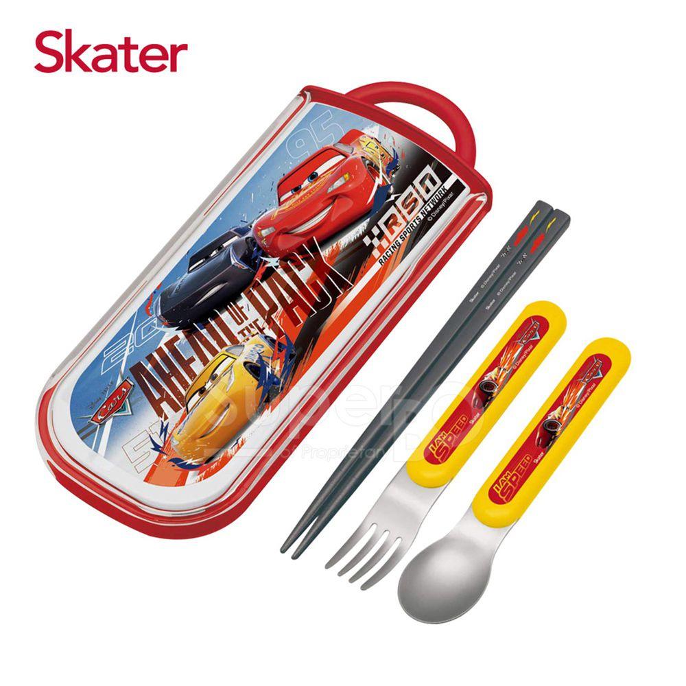 日本 SKATER - 三件式餐具組-閃電麥昆AHEAD