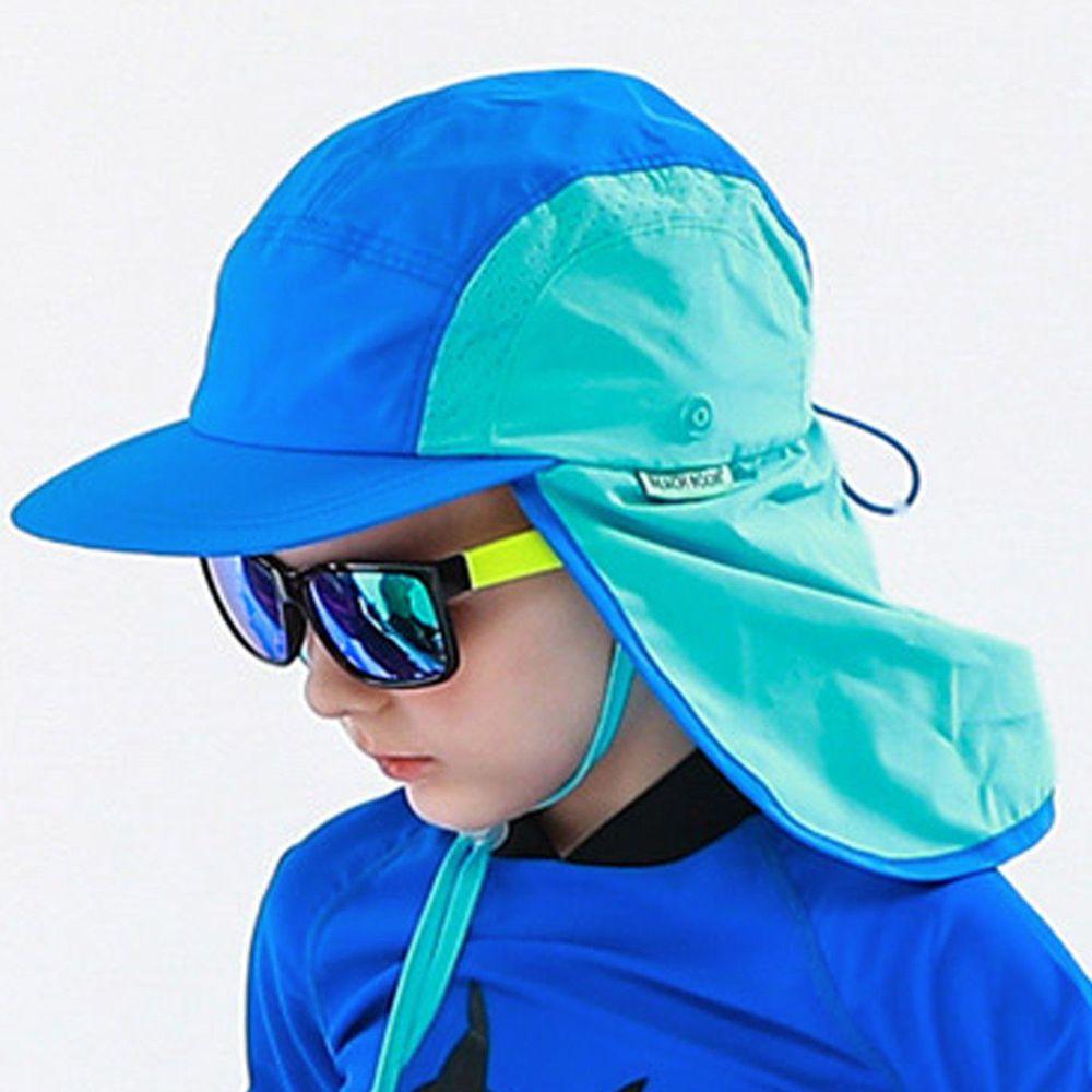 韓國 Beach Boom - 韓製UPF50+防水透氣遮脖泳帽-藍綠