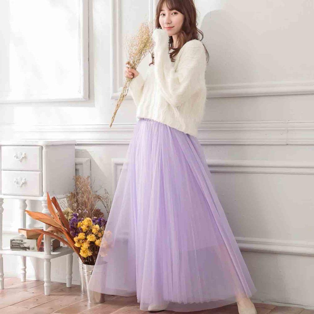 Peachy - 獨家訂製綿柔法式浪漫三層蓬紗裙-三層蓬版-薰衣草紫 (F)