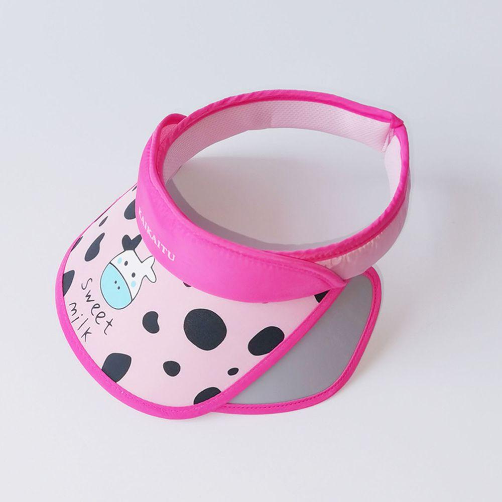 兒童大帽沿空頂遮陽帽-乳牛-粉色 (50-53cm)
