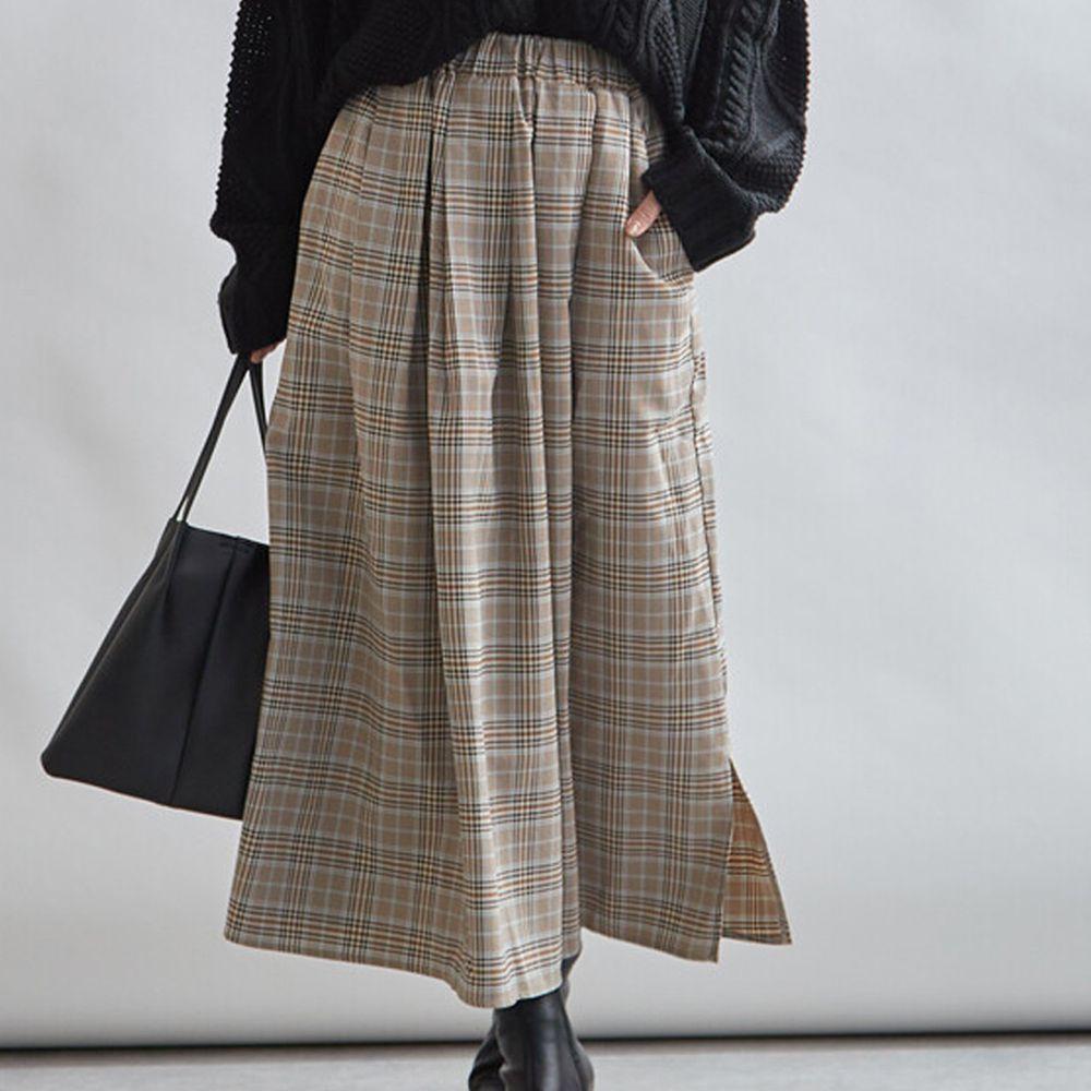 日本女裝代購 - 復古格紋傘狀長裙-杏X藍格紋 (M(Free size))